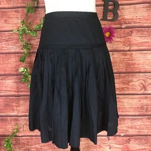 J Crew Skirt 6 Navy Blue Polished Cotton Pleated